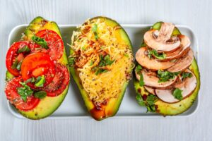 low carb pescatarian meal plan - lobster stuffed avocadoes